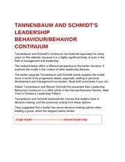 Tannenbaum and Schmidt's Leadership Behaviour and Behavior Continuum