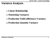ACCO 330 -  Variance analysis - course pack