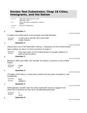 Chap 18 Cities, Immigrants, and the Nation  HISTORY 105