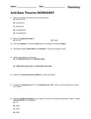 85 - Theories of Acids and Bases  Worksheet