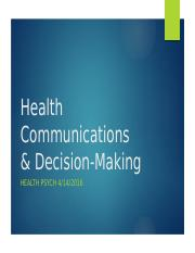 Health Communications & Decision-Making