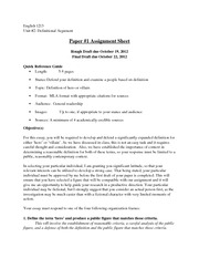 Unit 2 paper assignment sheet