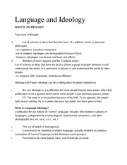 Ling 370 Ch 5 Language Ideology Outline