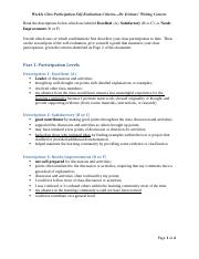 Weekly Class Participation Self Evaluation Criteria (3) Tovar