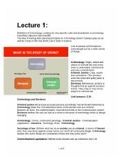 Criminology Notes Lecture 1 - 12