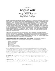 syllabus english 2220 fall 2014
