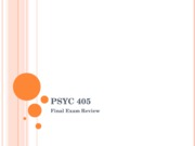 PSYC 405 Final Exam Review