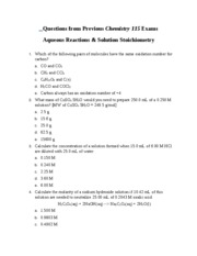 Questions from Previous Chemistry 115 Exams Aqueous Reactions & Solution Stoichiometry