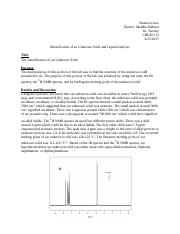 Identification of an Unknown Solid and Liquid Lab Report.docx
