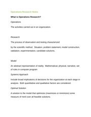 Operations Research Notes