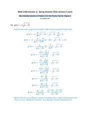 Math 1190 -- Problem 12 Solution for the Practice Test for Chapter 2