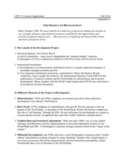 Global Poverty and Practice 115: The Project of Development Lecture Supplement 2
