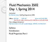 Lecture 1 on Fluid Mechanics