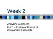 Week 2 - Analyzing Audiences