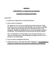 3 Assignment 3-1 Commercial Lease Agreement Questions(1).docx