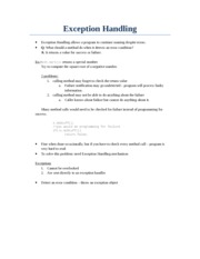 Exception Handling CSCI 180