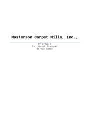 STRATEGIC PLANS FOR MASTERTON CARPET MILLS