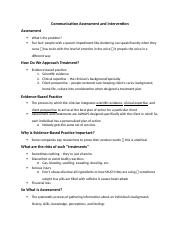 Communication Assessment and Intervention.docx
