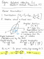 Exam 2 Study Guide- Relative Velocity and Newton's 2nd Law