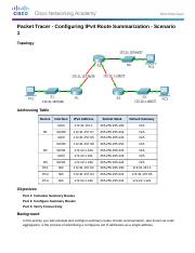 6.4.1.5 Packet Tracer - Configuring IPv4 Route Summarization - Scenario 1 Instructions.docx
