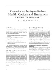 Executive Authority to Reform