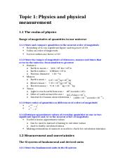 Topic 1; Physics and physical measurement (notes)