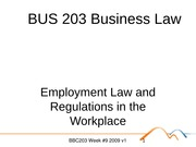 BUS 203 Business Law Topic 8 - Employment Law