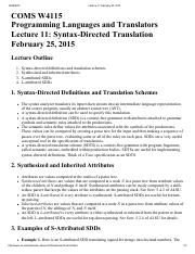 Lecture 11 Syntax-Directed Translation