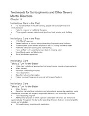 Treatments for Schizophrenia and Other Severe Mental Disorders Ch 15 Notes
