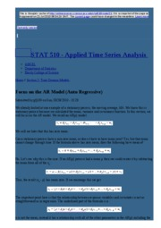 node21 Focus on the AR Model (Auto Regressive)   STAT 510 - Applied Time Series Analysis