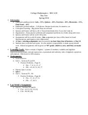College Mathematics - Day Two Outline