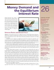 Chapter 26 Money Demand and the Equilibrium Interest Rate