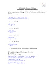 Solutions for Problem Set 3 (Derivative)