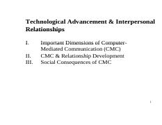 Comm 2014F Week 8 (Technological Advancement & Interpersonal Relationships)