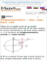 Trigonometry, trigonometric functions, sin, cos, tan, cot