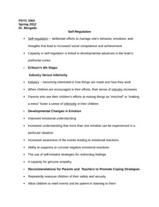 PSYC 3302 Notes on Self-Regulation