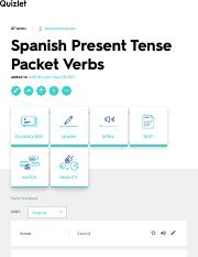 Spanish Present Tense Packet Verbs Flashcards | Quizlet
