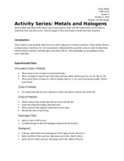 Chemistry Lab 7 - Activity Series, Metals and Halogens
