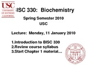BISC 330 Spring 2010 Lecture 1