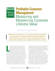 Kumar V & Bharath, Rhajan_2009_Profitable customer management, measuring and maximzing customer life
