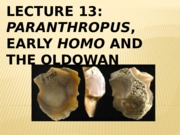Lecture 13 Paranthropus, Early Homo and the Oldowan Spring 2015