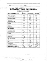 INCOME AND EXPENSES WORKSHEET