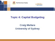 Topic Four - Capital Budgeting