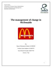 The management of change in McDonalds.docx