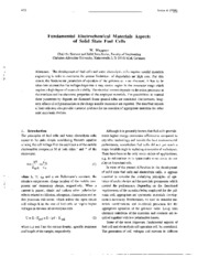Fundamental Electrochemical Materials Aspects of Solid State Fuel Cells