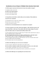 CIS 106 - Introduction to Access (Chapter 1) Multiple Choice Questions Study Guide