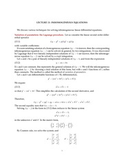 Math 18.034 Inhomogeneous Equations Notes