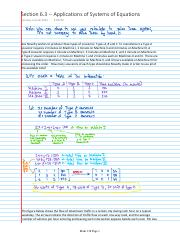 Lecture Notes -- Section 6.3 -- Applications of Systems of Equations