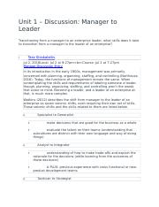 Unit 1 – Discussion- Manager to Leader .docx