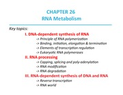Lecture 26 - RNA Metabolism